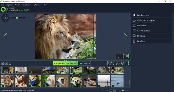 Ashampoo Photo Optimizer 2019 Foto geladen und bereits für Optimierung