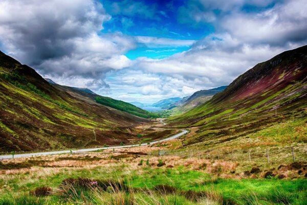 Schottland Highlands Landschaft mit dem Weitwinkelobjektiv fotografiert
