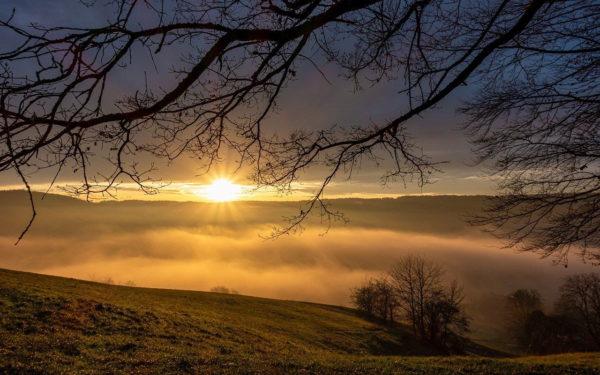 Sonnenuntergang mit Kompaktkamera fotografiert